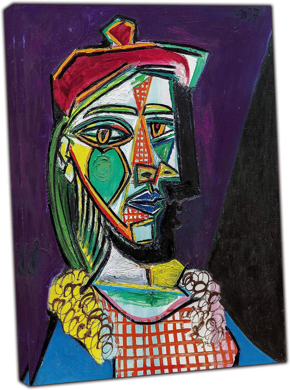 Pablo Picasso - Cuadro con lienzo enmarcado, diseño de mujer en boina, Lienzo de tela, 24'' x 20''inch(60x 50 cm) - 18mm depth