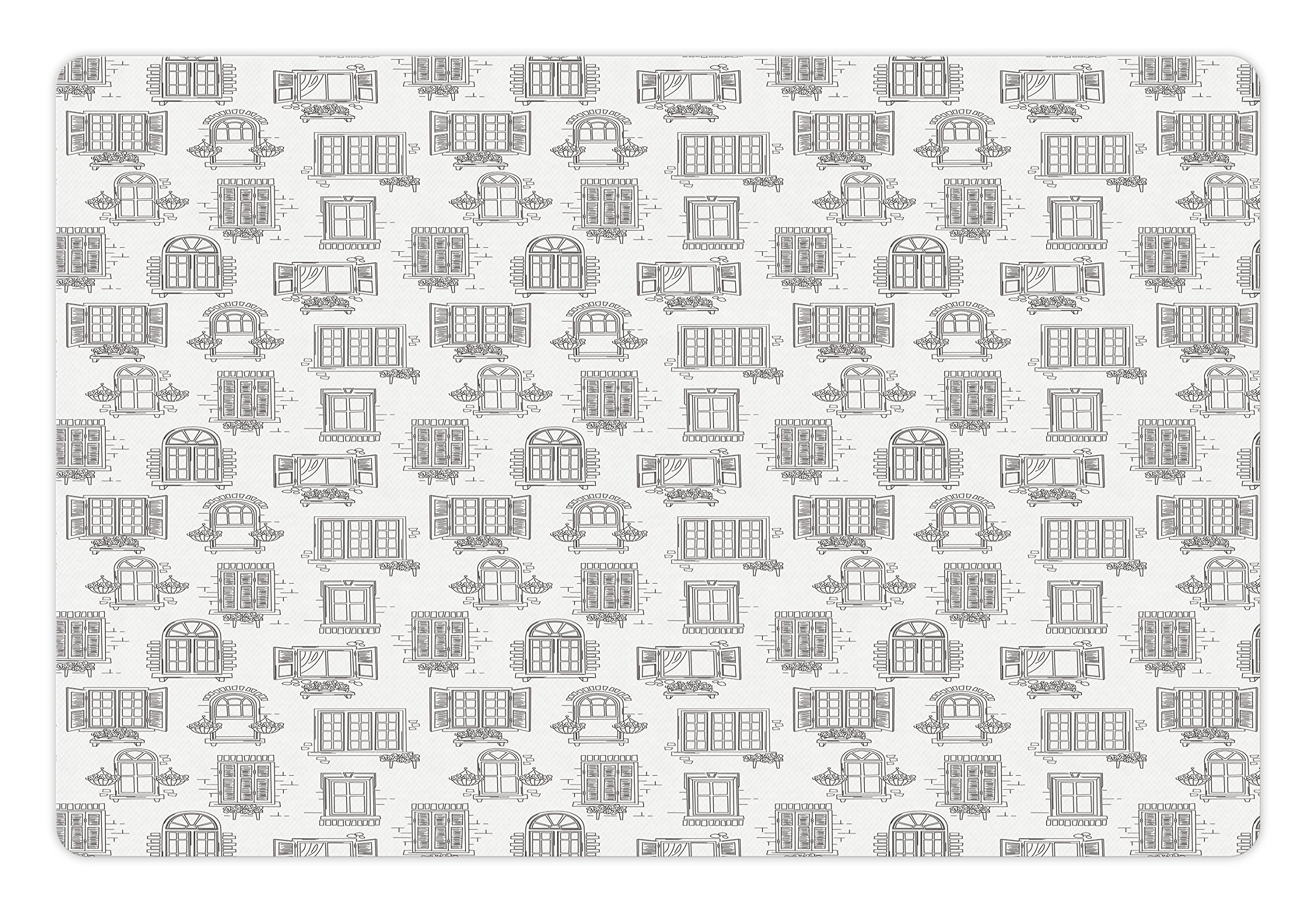 Lunarable Sketch Pet Mat for Food and Water, Antique French City Old Houses with Nostalgic Retro Windows and Flower Pots Art, Rectangle Non-Slip Rubber Mat for Dogs and Cats, Black White