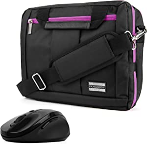 Purple Trim Convertible Laptop Bag with Mouse for Acer Aspire, ChromeBook, Switch, Spin 10 to 12 inch