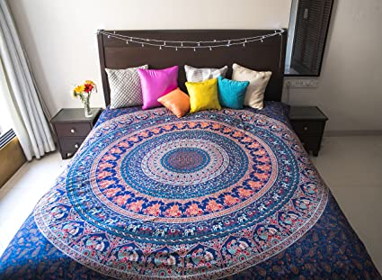 Raj Handicrafts Cotton Bedsheet For Double Bed Without Pillow Cover