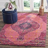 "Safavieh Artisan Collection ATN337F Vintage Bohemian Fuchsia Pink and Multi Square Distressed Area Rug (6'7"" Square)"