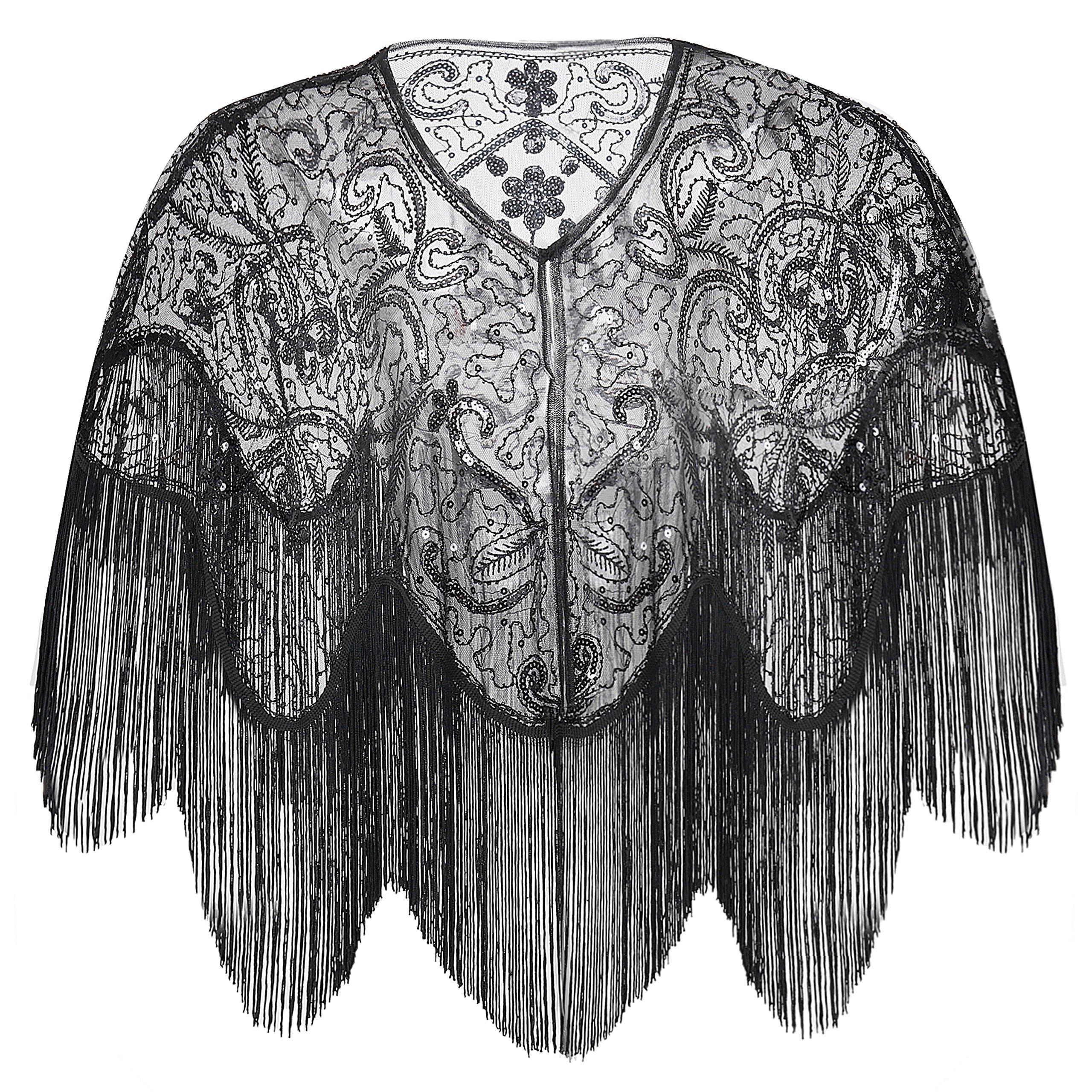 BABEYOND 1920s Shawl Wraps Gatsby Beaded Evening Cape Bridal Shawl for Evening Dresses Wedding Party (Black)