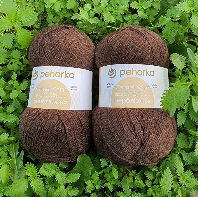 Pehorka Fine Lace weight camel Yarn Eco series 43 Natural colour Dark Camel