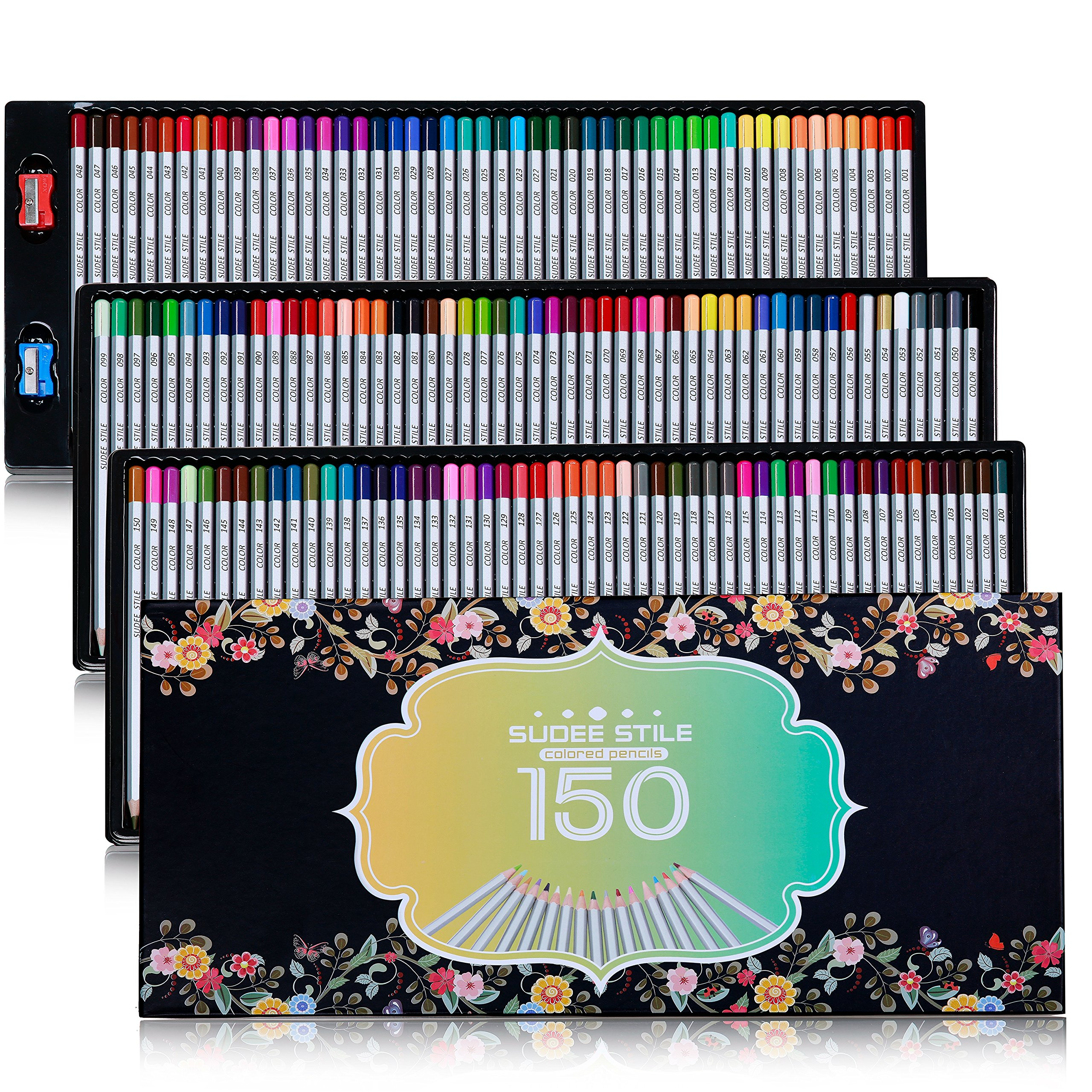 SUDEE STILE Colored Pencils 150 Unique Colors (No Duplicates) Art Drawing Colored Pencils Set with Case Sharpener by SUDEE STILE