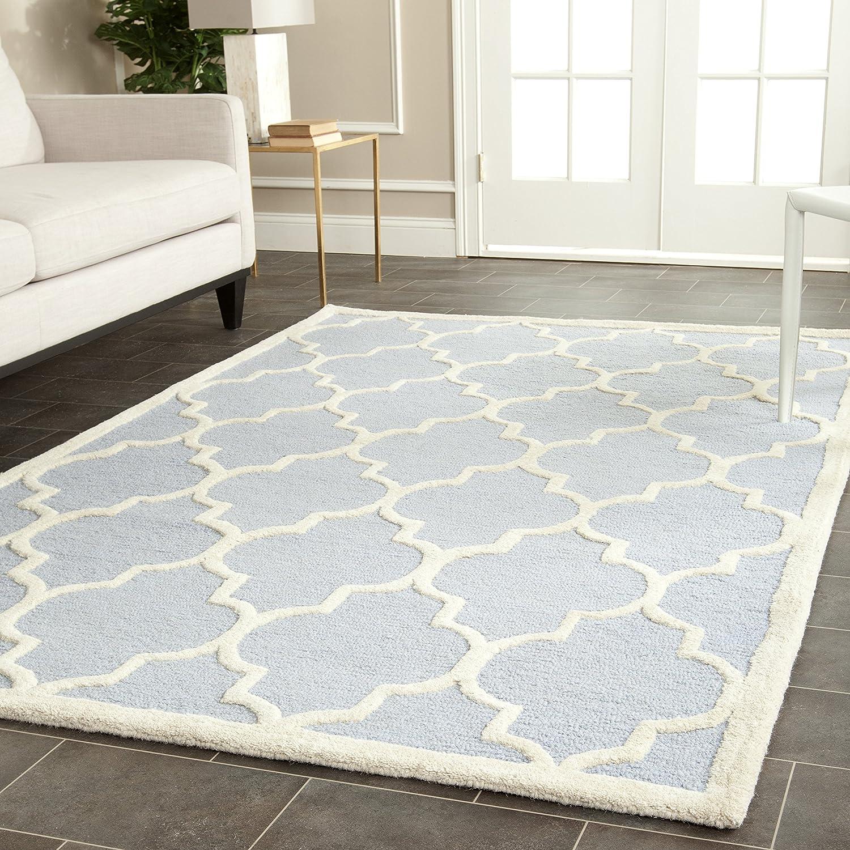 Safavieh Everly handgetufteter Teppich, CAM134A, Hellblau   Elfenbein, 152 X 243  cm