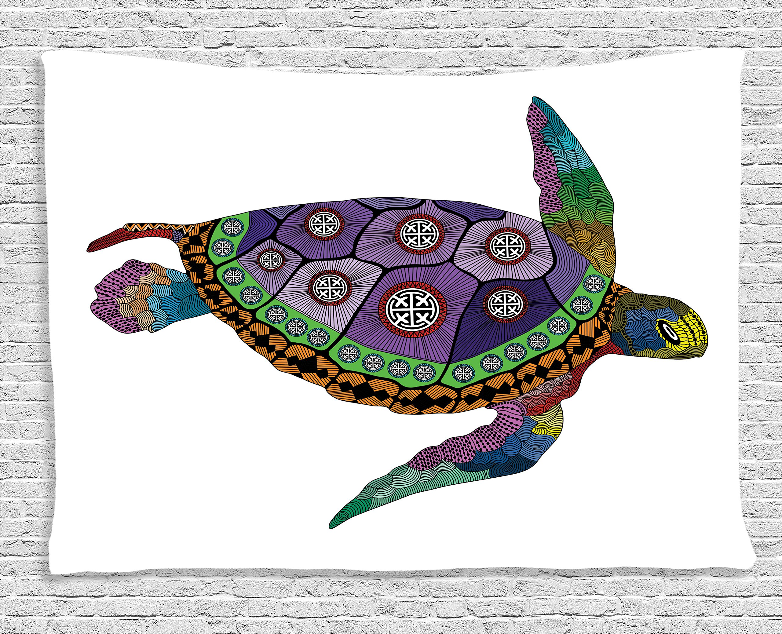 Ambesonne Psychedelic Decor Tapestry, Sea Turtle with Colorful Ornamental Tattoos on Animal Art Work, Wall Hanging for Bedroom Living Room Dorm, 60 W X 40 L inches, Purple Orange Pink