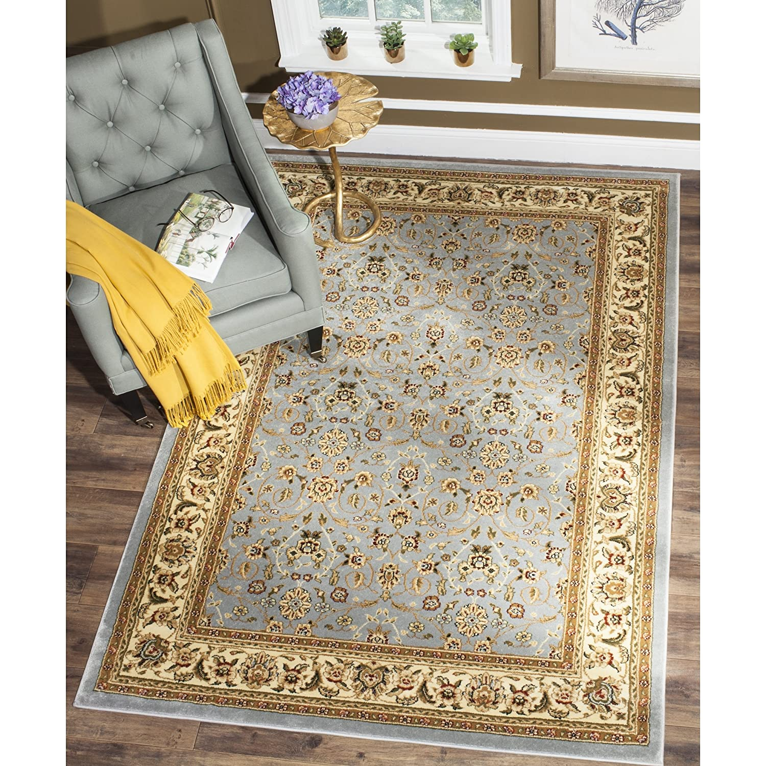 Amazon com safavieh lyndhurst collection traditional oriental light blue and ivory area rug 53 x 76 kitchen dining