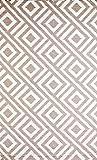 b.b.begonia Malibu Geometric Contemporary Reversible Design 4' x 6' Beige/White Rectangle Outdoor Rug Mat Polypropylene for Camping, Patio, Deck, Pool Area, Yard, Picnic