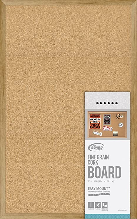 Amazon.com : Board Dudes Fine Grain Cork Board Wood Style Frame ...