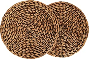 "CENBOSS Beautiful Woven Placemats Round Placemats for Dining Table (Brown Wash, 11.8"" Set of 2)"