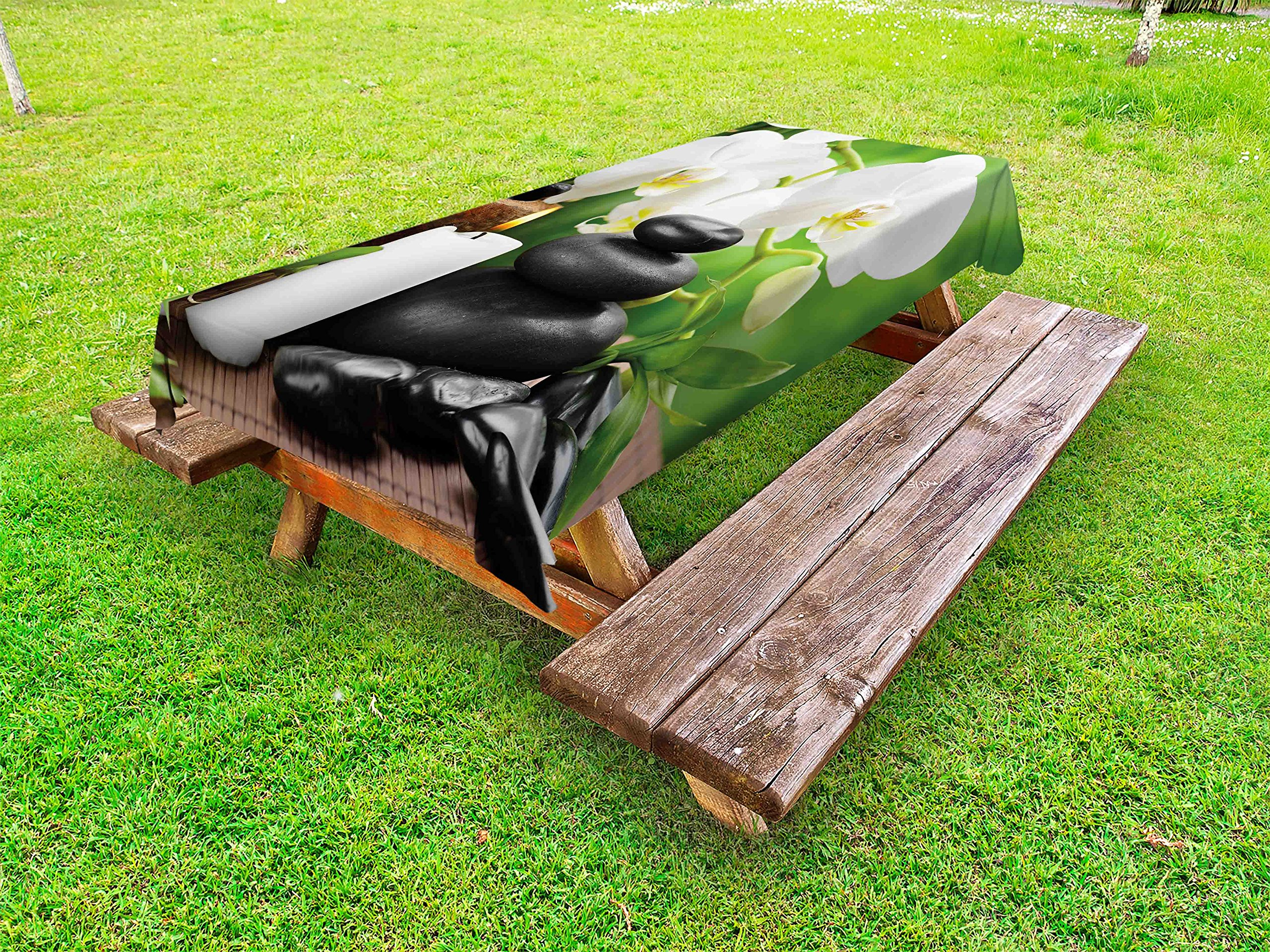 Ambesonne Spa Outdoor Tablecloth, Zen Hot Massage Stones with Orchid Candles and Magnificent Nature Remedies, Decorative Washable Picnic Table Cloth, 58 X 84 inches, Black White and Green