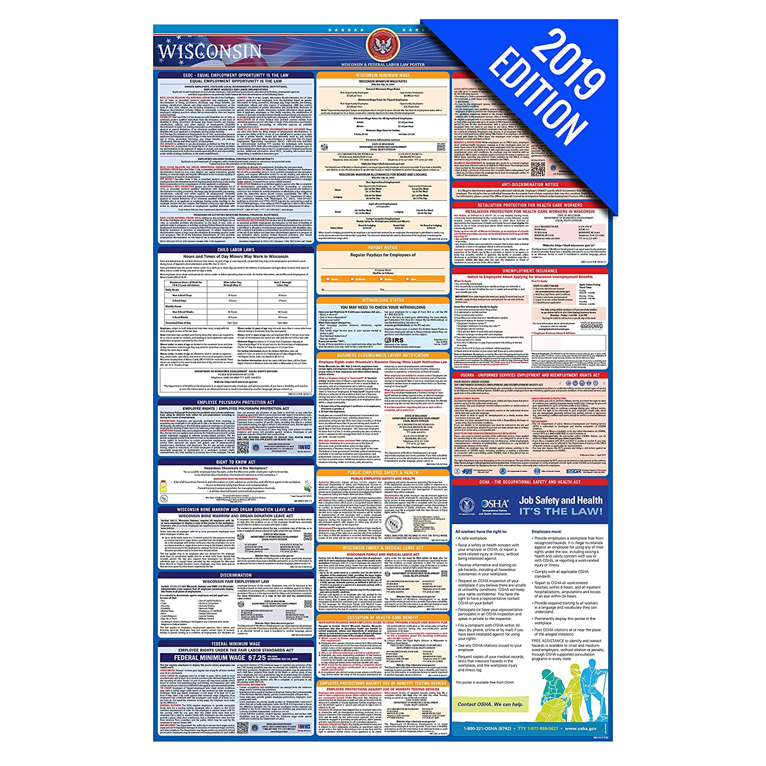 2019 Wisconsin Labor Law Poster – State, Federal, OSHA Compliant –  Laminated Mandatory All in One Poster