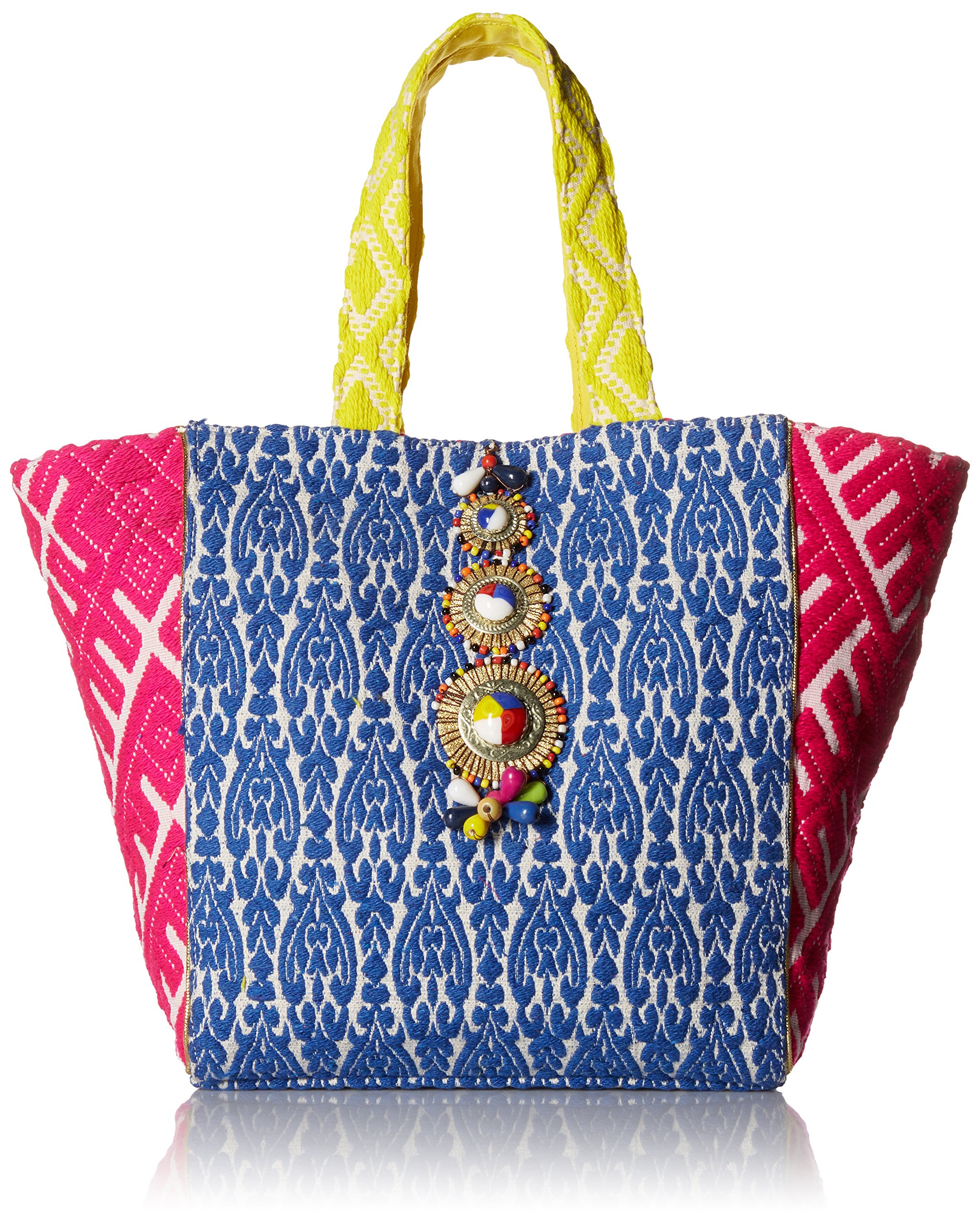 Steve Madden Zena Tribal Geometric Colored Bohemian Fabric Tote Shoulder Beach Handbag, Multi