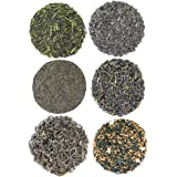 Green Teas of the World Sampler, 6 Loose Leaf Green Teas From India, Japan, and China-6-4oz volume tins