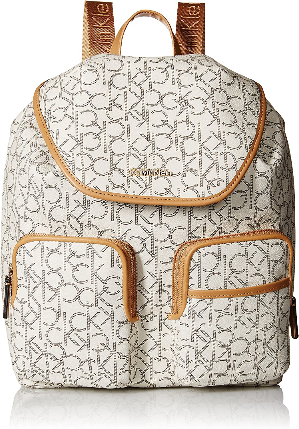 Calvin Klein Logo Monogram Signature Backpack Almond Khaki Camel