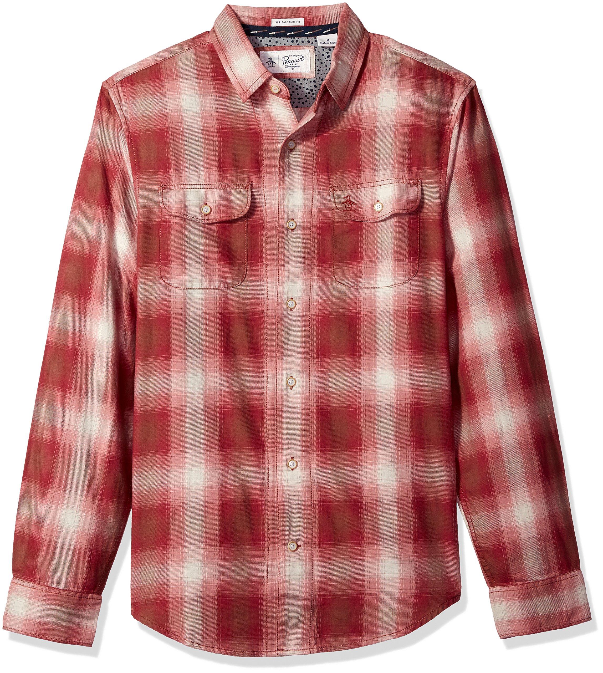 Original Penguin Men's Retro Plaid Flannel Dress Shirt, Pomegranate, Large