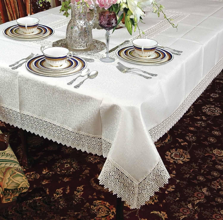 White 70 x 120 Violet Linen Betenburg Lace Design Oblong//Rectangle Tablecloth