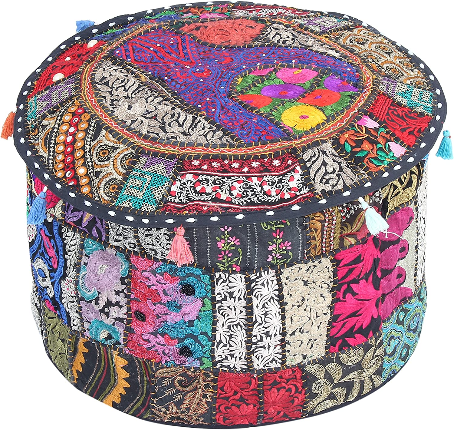 Jaipur Textile Hub Indian Ottoman Pouf Cover Vintage Cotton Patch Work Pouf Cover Traditional Hippie Pouf Cover Indian Ottoman Cover Boho Room Décor