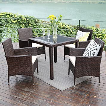 Patio Dining Table Set 5 Piece,Wisteria Lane Outdoor Upgrade Wicker Rattan Dining  Furniture Glass