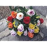 Bouquet di fiori artificiali per cimitero 18Rose Multicolore 61cm.