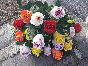 Bouquet De Fleurs Artificielles Pour Cimetiere 18 Roses Multicolore