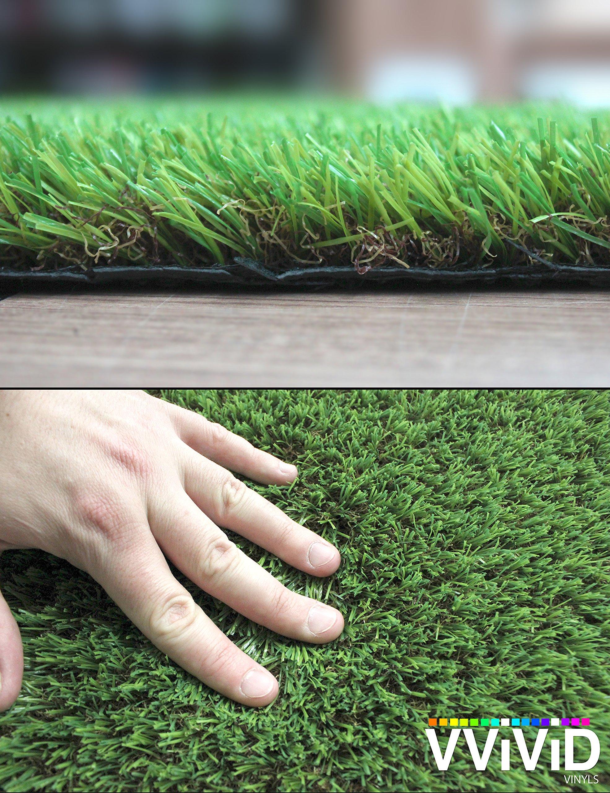 VViViD Natural Looking 3-Tone Synthetic Grass Anti-UV Vinyl Turf Mat Bulk Roll (12ft x 40'' Roll) by VViViD