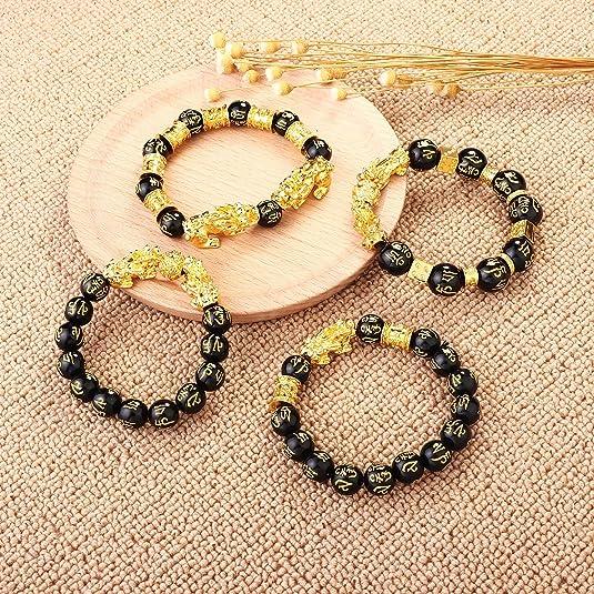 Milacolato 4 Pcs Feng Shui Pixiu Bracelets Bonne Chance pour Hommes Femmes Mantra Amulette Perle Bracelets Pi Yao Perle Bracelelts avec Plaqu/é Or