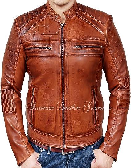 9a337b96ef5 Mens Biker Vintage Antique Brown Cafe Racer Real Leather Jacket   Amazon.co.uk  Clothing