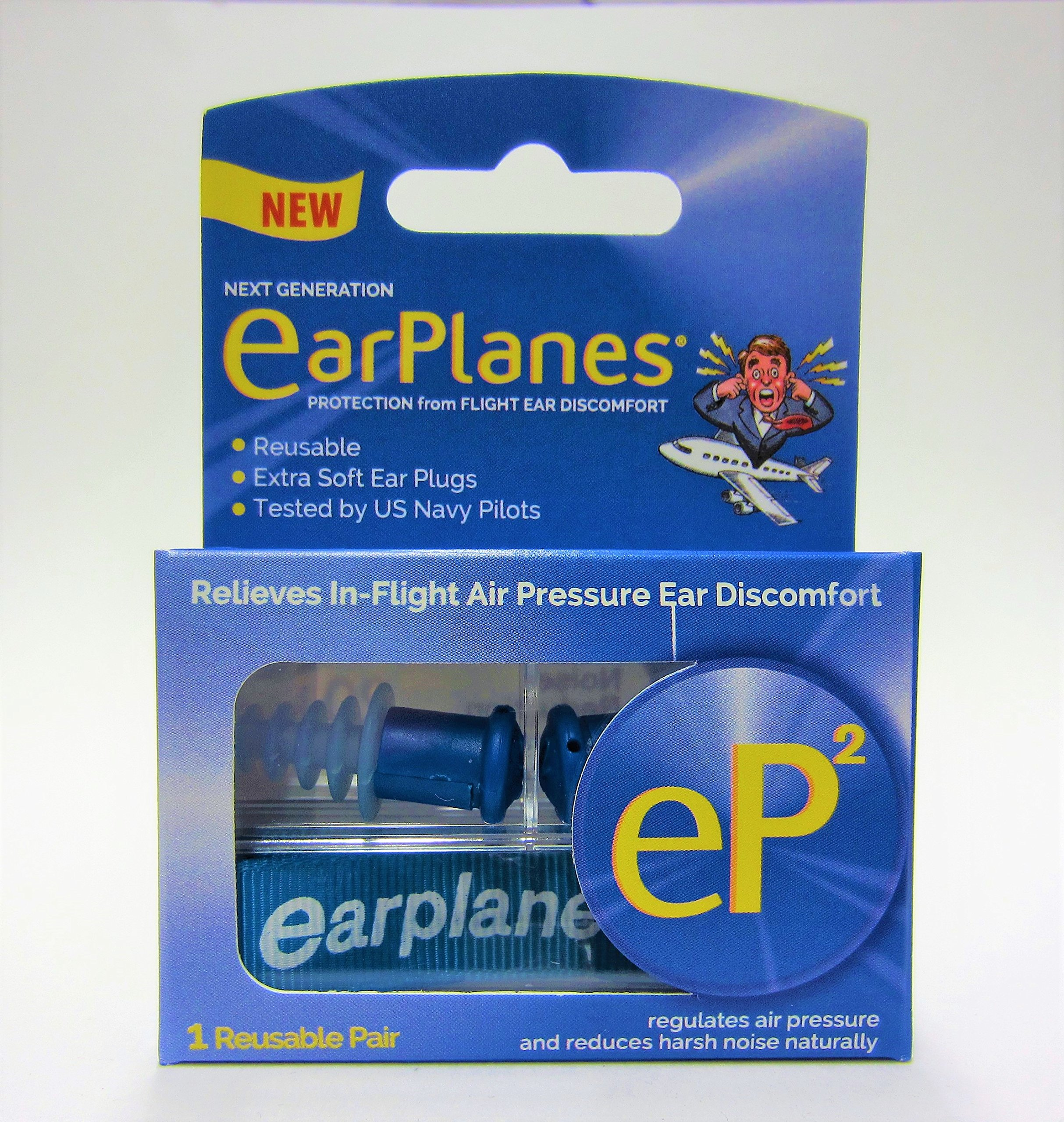 EP2 by Cirrus Healthcare Second Generation EarPlanes Earplugs Ear Protection From Flight Air And Noise Sound (2 Reusable Pair)