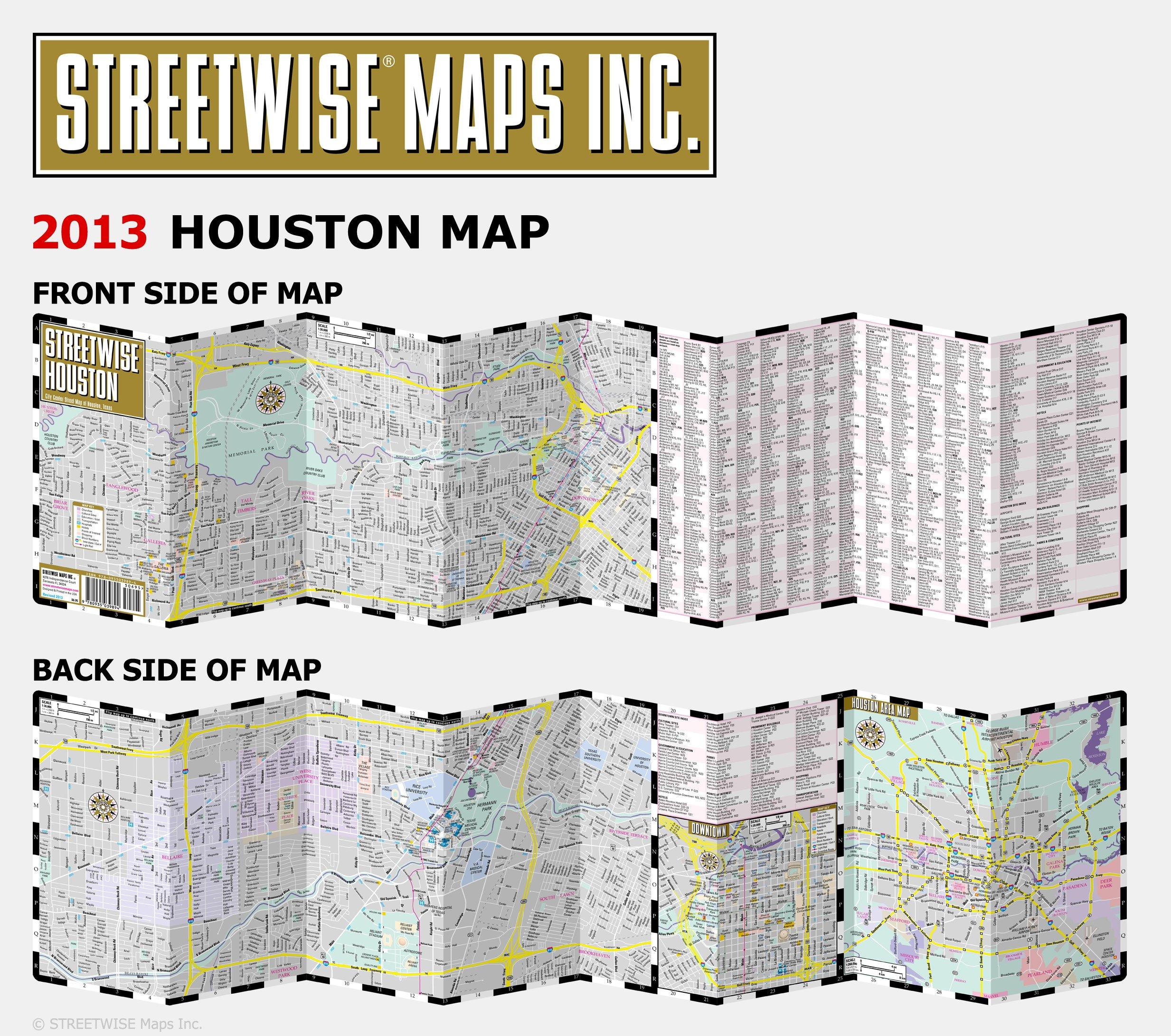 Streetwise Houston Map - Laminated City Center Street Map of Houston on