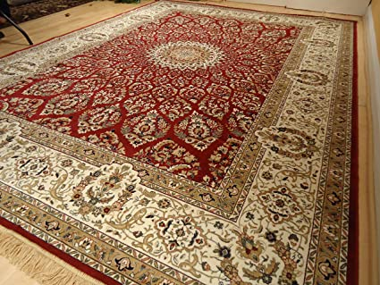 Silk Rugs Red Traditional For Living Room 8x12 Persian Tabriz 8x10 Area Clearance