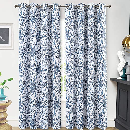 DriftAway Isla Paisley Floral Printed Pattern Blackout Room Darkening Thermal Insulated Grommet Lined Window Curtains 2 Panels Each 52 Inch
