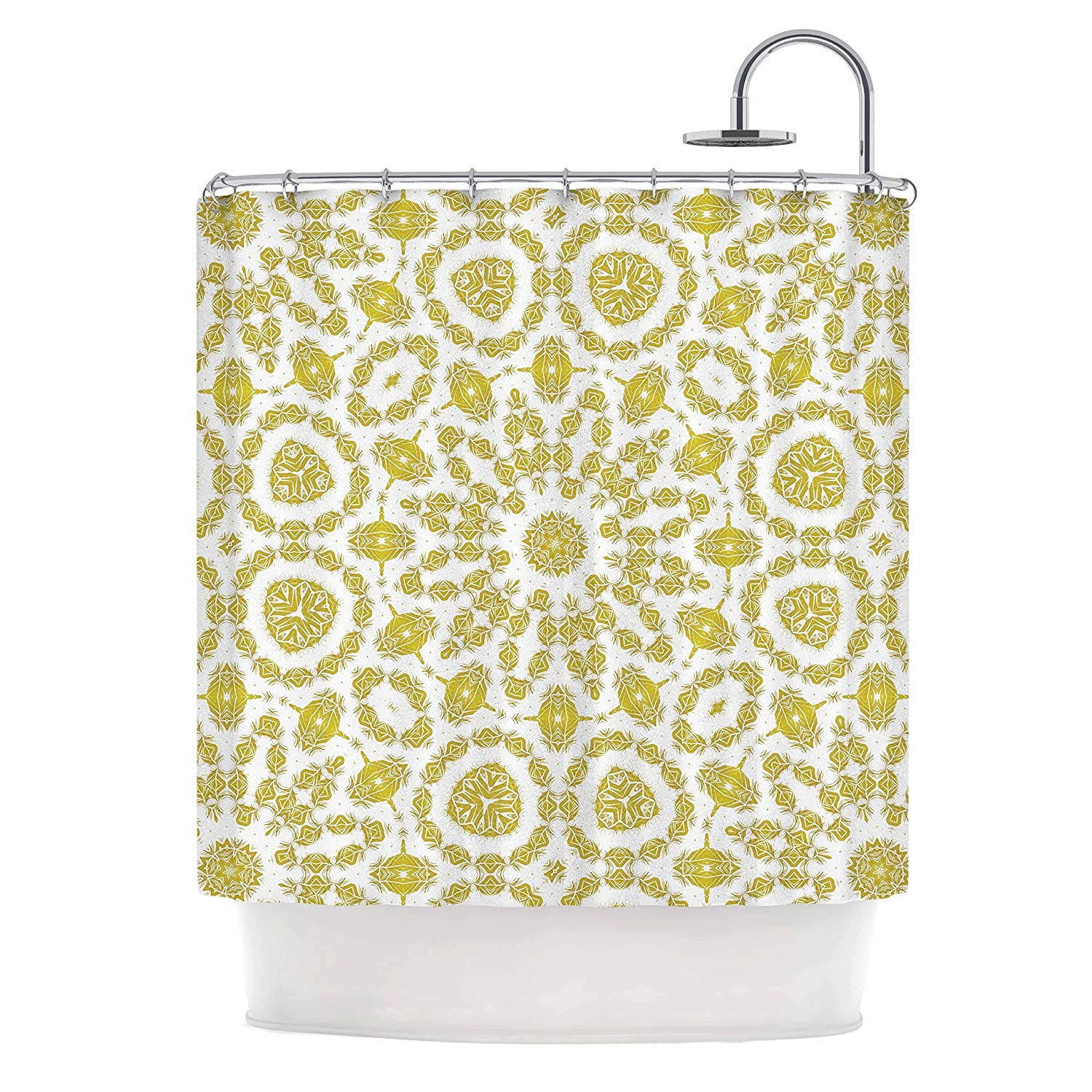69 x 70 Shower Curtain Kess InHouse Alison Coxon Flaxen Mandala White Yellow Digital