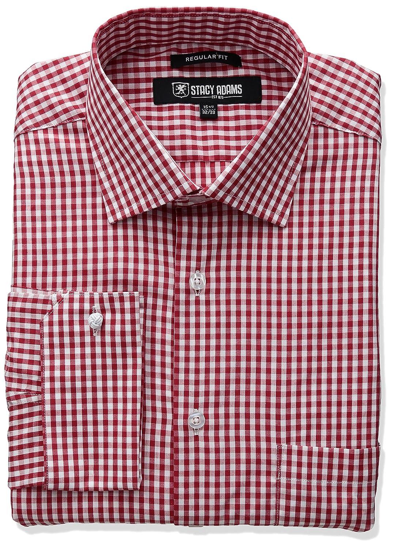Stacy Adams Mens Gingham Check Dress Shirt Stacy Adams Men' s Basics ST65001