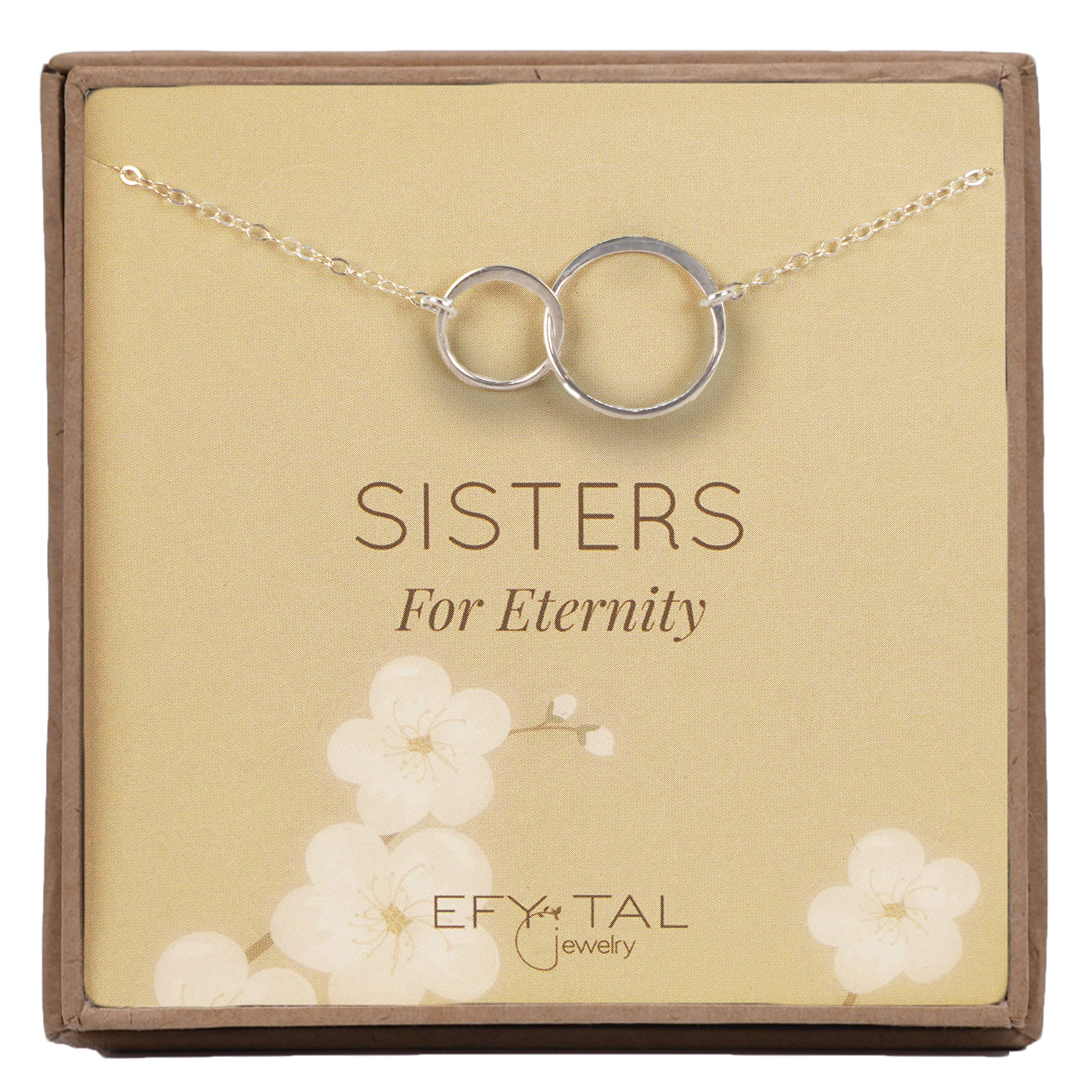 Efy Tal Jewelry Sterling Silver Sisters Necklace, Infinity Joined Two Interlocking Double Circles on Card Gift Sister