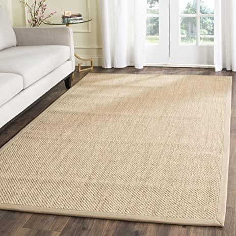 Safavieh Natural Fiber Collection NF141B Tiger Paw Weave Maize And Linen Sisal  Area Rug (2