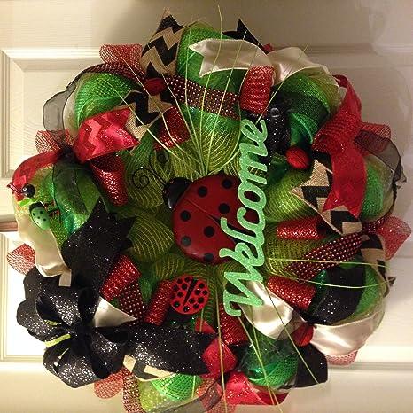 Spring Wreath Deco Mesh Everyday Wreath Summer Wreath Ladybug Deco Mesh Wreath Deco Mesh Wreath for your front door Ladybug Wreath
