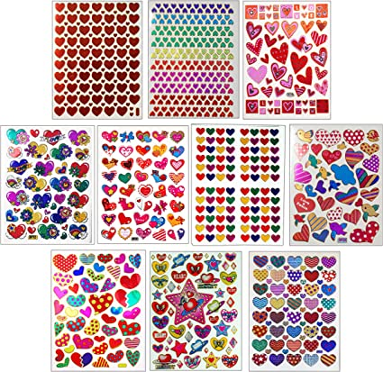 10 Sheets Valentines Day 3D Puffy Stickers Valentine Heart Stickers Rainbow Heart Puffy Stickers Decals Colorful Decorative Stickers for Kids Toddlers Kindergarten Supplies