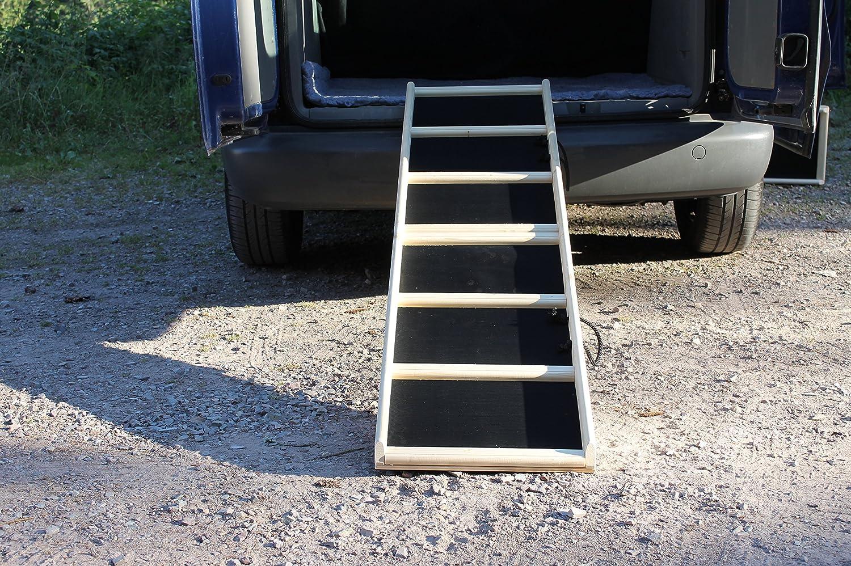 Easy-Hopper Hunderampe / Hundetreppe / Einstiegshilfe Komfort natur mit Feinriefengummimatte