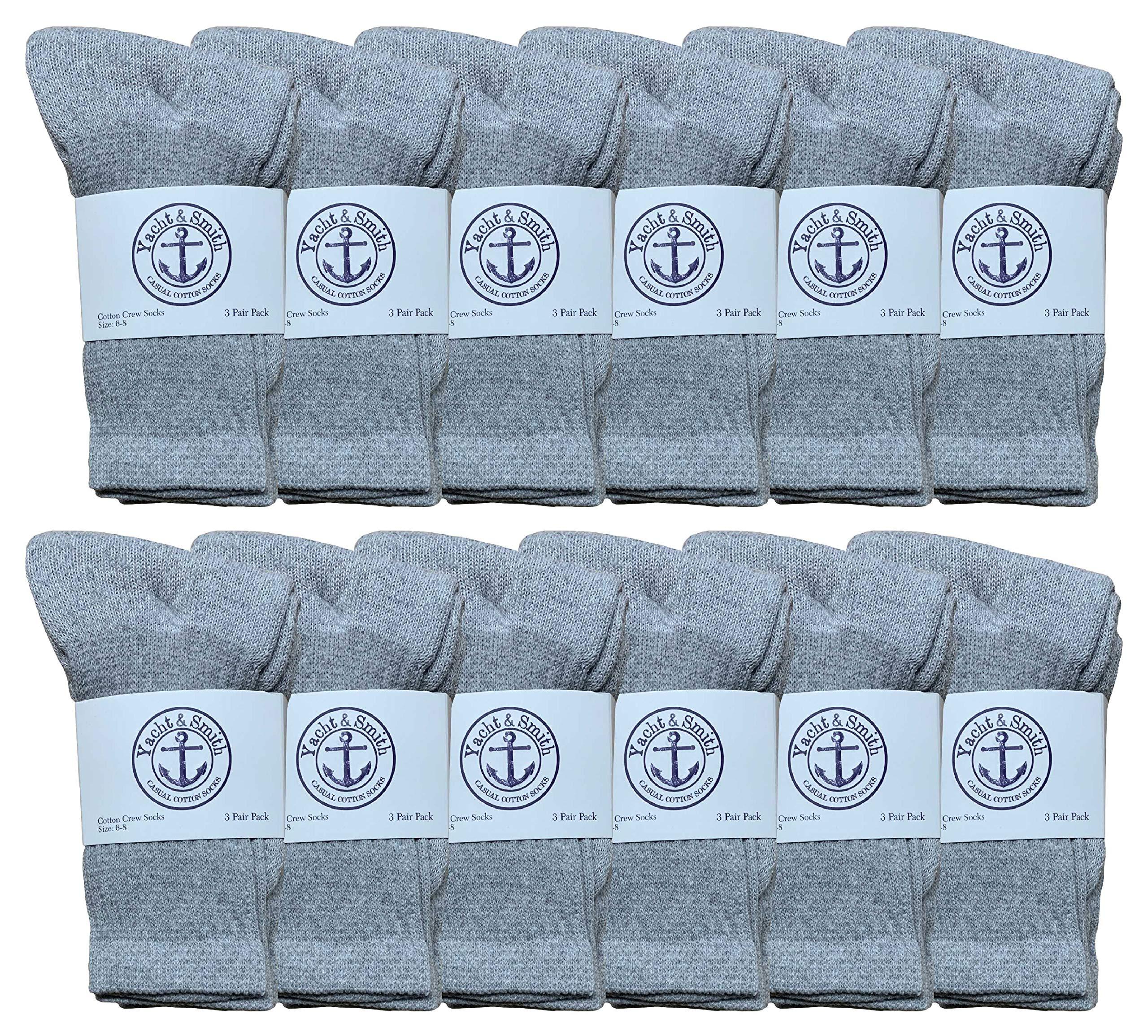 Yacht & Smith Wholesale Kids Crew Socks, Childrens Cotton Casual Crew Socks Size 6-25 by Yacht & Smith