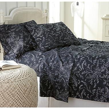Southshore Fine Linens - Winter Brush Print 4 Piece Sheet Sets, King, Black Sheets w/White Flowers