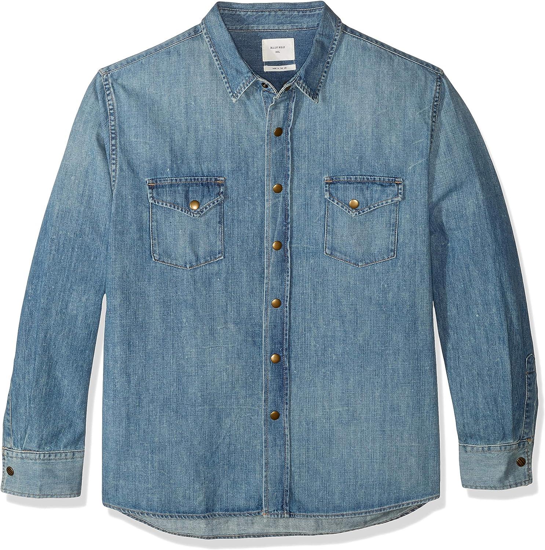 Billy Reid Mens Denim Brass Snap Work Shirt
