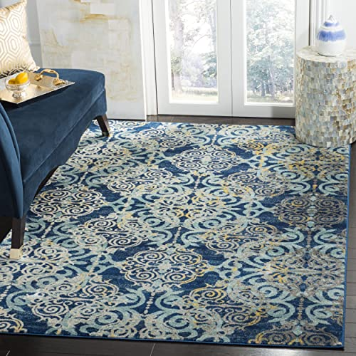Safavieh Evoke Collection EVK230A Vintage Medallion Damask Royal Blue and Light Blue Area Rug 3 x 5