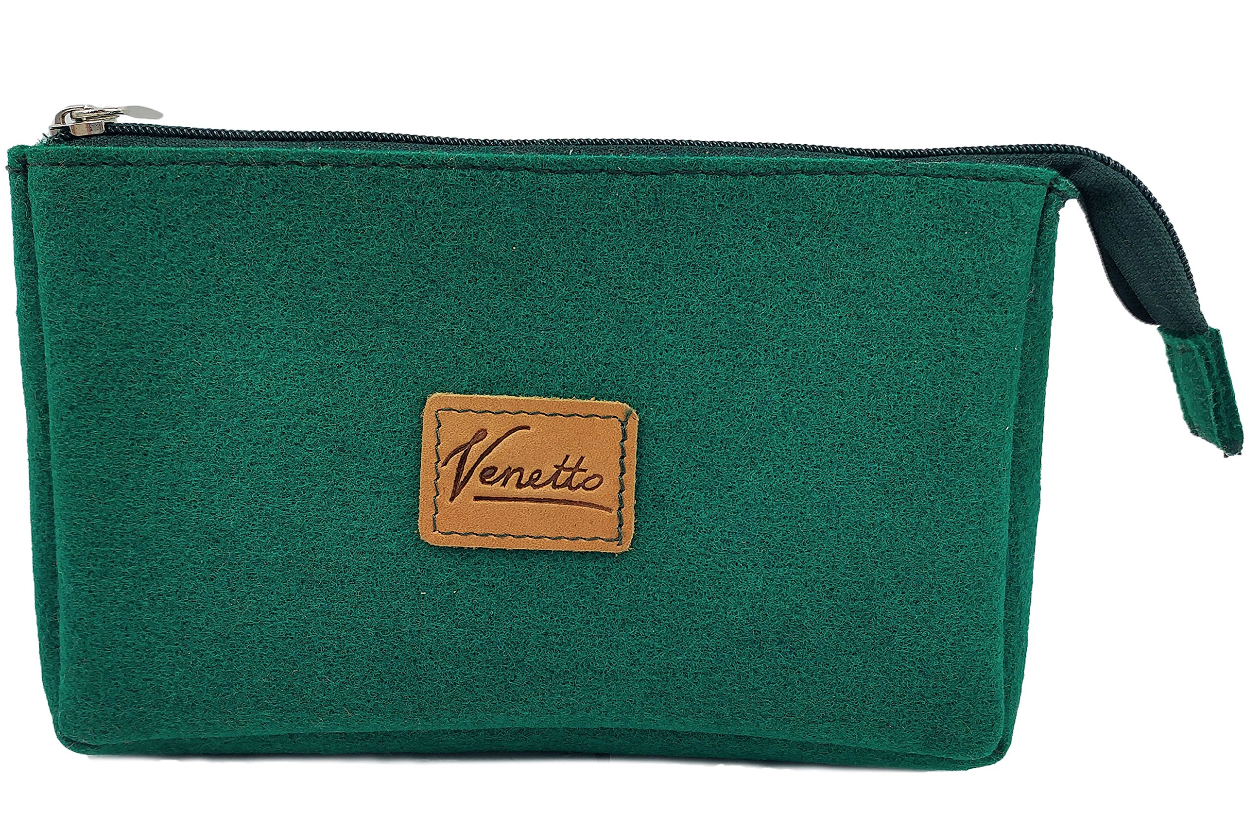 Culture bag Pouch Toiletry case overnight bag handmade of felt for accessories, organizer for power supply, PC mouse, e-cigarette, cosmetics, culture bag, cash, money, makeup (dark green)