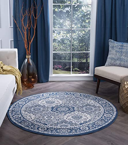 Newcomb Traditional Oriental Navy Round Area Rug, 8 Round