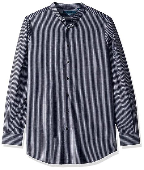 Perry Ellis Mens Big and Tall Slim Fit Striped Stretch Shirt