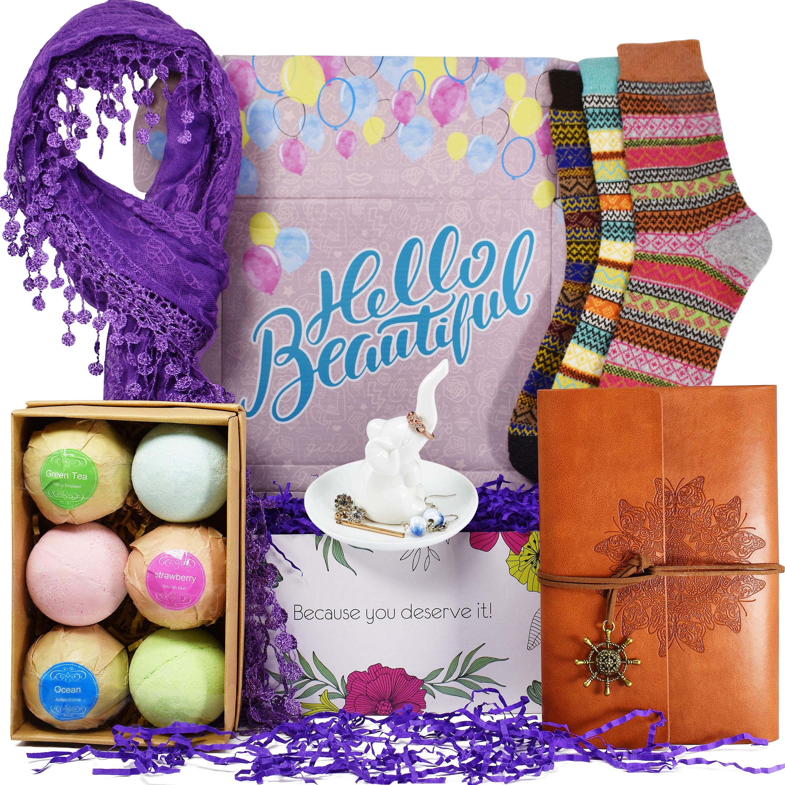 Birthday Gift Baskets for Women - Includes: Journal for Women, Ring Holders for Jewelry, Bubble Bath for Women, Warm Socks, and Womens Scarves for Wife, Friend Aunt, Sister or Daughter