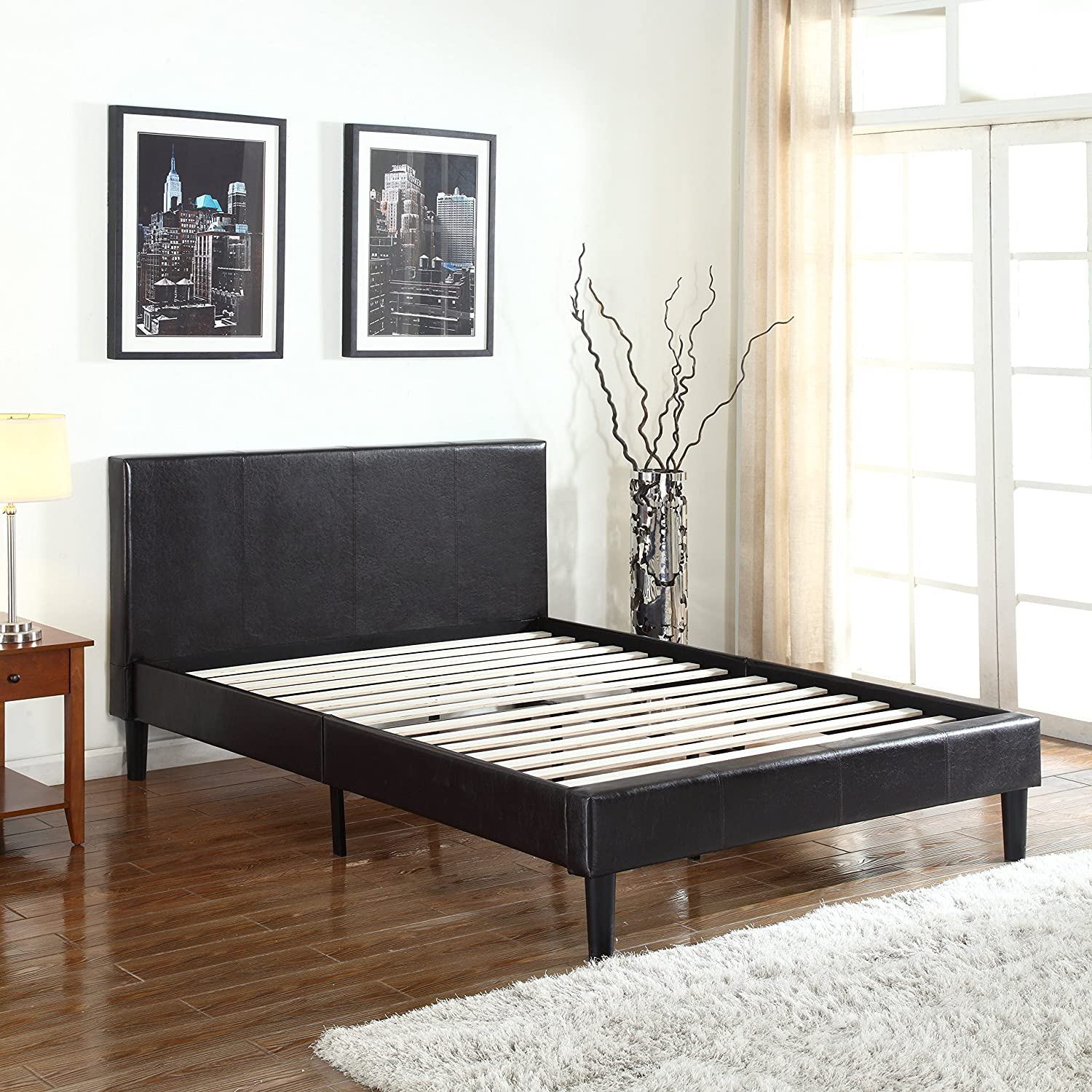 Amazon.com: Deluxe Espresso Brown Bonded Leather Platform Bed With Wooden  Slats (Twin): Kitchen U0026 Dining