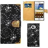 Samsung Galaxy S2 i9100 Handy Tasche, FoneExpert® Bling Luxus Diamant Hülle Wallet Case Cover Hüllen Etui Ledertasche Premium Lederhülle Schutzhülle für Samsung Galaxy S2 i9100