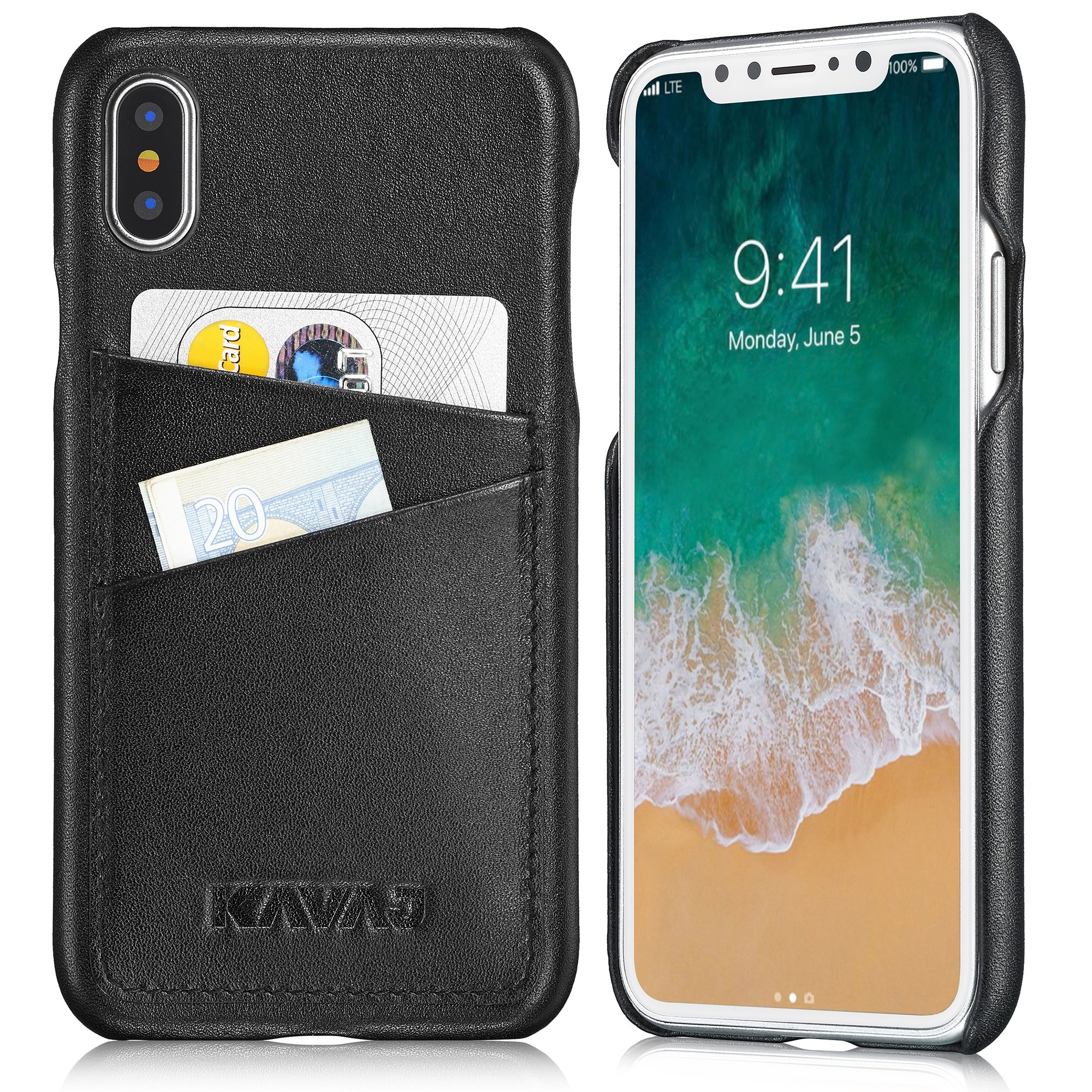 KAVAJ iPhone X Case Leather Tokyo Black, Supports Wireless Charging (Qi), Slim-Fit Genuine Leather iPhone X Wallet Case Leather Bumper Case With Business Card Holder Cover for iPhoneX